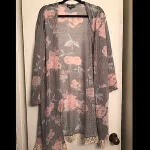 Freshman Sheer Grey Floral Lace lined cardigan XL